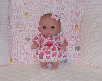 8LC1-93) 8 inch Lil Cutesies Berenguer baby doll clothes, 1 pretty dress with panties