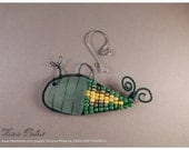 Sea Glass Whale Suncatcher Ornament - seafoam sea glass with green and yellow beads