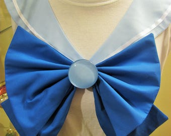 Disney Inspired Sailor Scout Cinderella - Light Blue Collar, Blue Bow, Light Blue Brooch