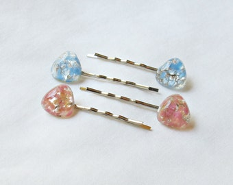 Triangle Bobby Pin Set. Pink Blue Silver Barrettes Hair Grips. Vintage Foiled Metallic Children Girls Women. dspdavey Accessories Handmade