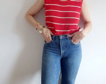 Sweater Vintage Red Striped Sleeveless Knit