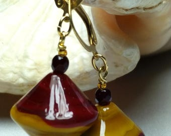 Earrings Murano glass bicone Red