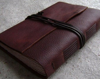 "Handmade leather journal, 5.5""x 7.5"",  rustic chestnut brown journal, travel journal, old world journal (2366)"