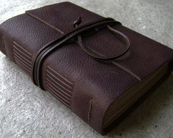 """Chunky leather journal, 5 """"x 7"""",  384 pages, rustic dark brown, old world journal, leather travel journal, sketchbook,  (2536)"""
