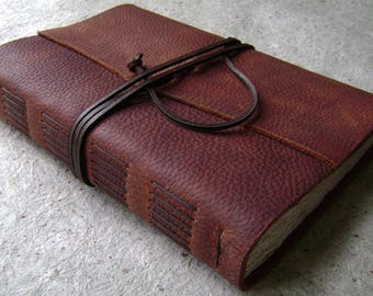 """Old world leather journal, 336 pages, 6""""x 9"""", rustic dark brown journal, leather sketchbook, travel journal, (2535)"""