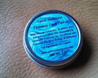 Tummy Care Salve - Spirit Medicines - 1oz or 2 oz Tin.  Organic Herbal Remedy, Salves & Balms, Skin care, Bath and Beauty, Aromatherapy