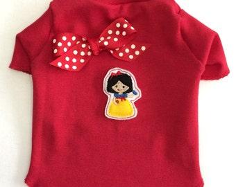 Princess Snow White Dog Shirt Clothes Size XXXS through Medium by Doogie Couture