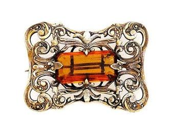 Edwardian Amber Glass Gilt Brooch c.1910-1920