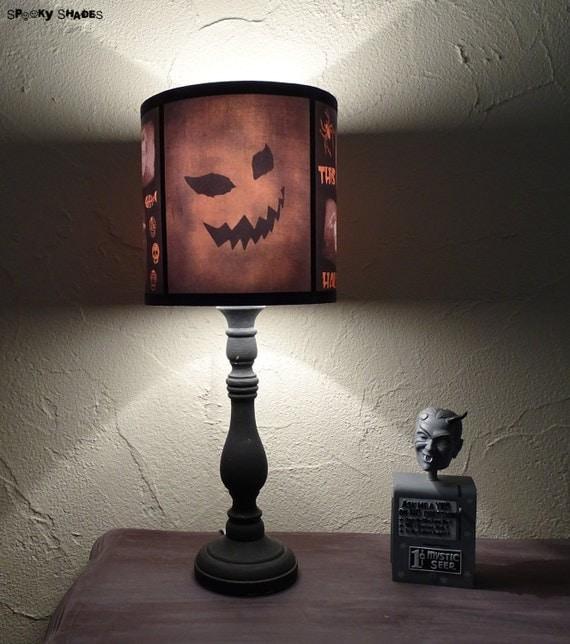 Evil Pumpkin lamp shade halloween decor jack o lantern