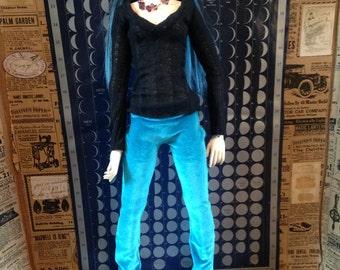 Teal Blue Velvet pants for SD BJD LARGE Prototype