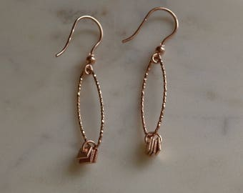Chic Rose gold Textured Earrings