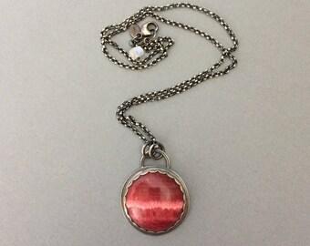 Rhodochrosite & Oxidized Sterling Silver Moon Pendant