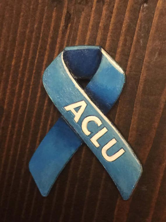 ACLU hand painted wooden pin