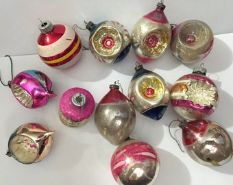 Antique glass Ornaments 12 Christmas tree decorations 3 from Poland, 1 Shiney Brite, 8 pre WWII vintage Japan indentations small 2 - 3""