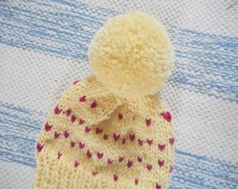Newborn Baby Hat/Infant Hat/Hand Knit Baby Hat/Baby Shower Gift/Yellow Baby Hat/ Knit Newborn Hat/Pom Pom Hat