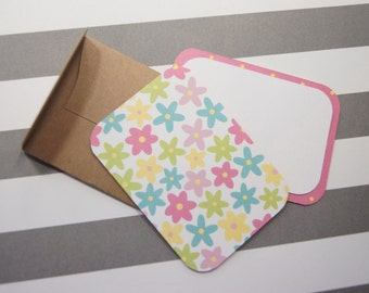 Small Gift Cards with Envelopes, Flowers, Birthday Enclosures set of 6