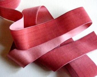 Vintage 1930's Silk Charmeuse Velvet Ribbon 1 3/4 Inch Aralia Pink