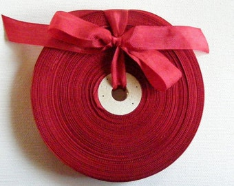 Vintage French Woven Ribbon -Milliners Stock- 5/8 inch 1930's-40's Lipstick Red