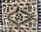 Vintage Hand Woven Blanket Wedding South American Guatamalan 1940s SALE