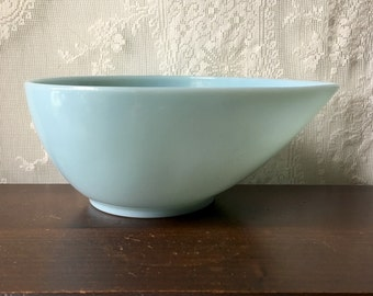 "Vintage Fire King Tear Drop Bowl Swedish Modern Glass Delphite Blue Mixing 9"" SALE"