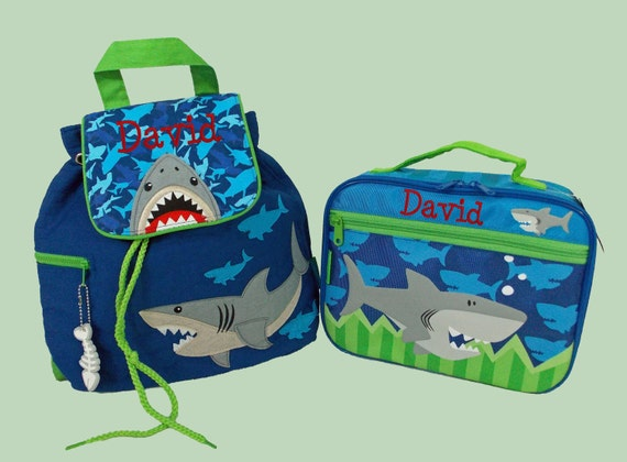 Personalized Stephen Joseph Quilted Backpack and Lunchbox SHARK School Set