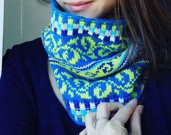 Knit Cowl, Fair Isle Neck Warmer, One size, dark turquoise and green