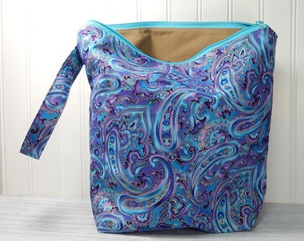 Knitting project bag, paisley, large zipper pouch, yarn bag, purple paisley, knitters gift, knitting pouch, tote with wrist strap