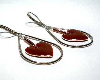Red Enameled Heart Silver Teardrop Chandelier Earrings