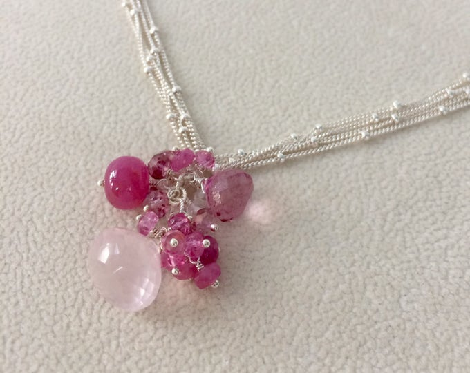 Gemstone Pendant in Sterling Silver with Rose Quartz, Pink Sapphire, Mystic Pink Quartz, Mystic Pink Topaz - Pink Gemstones