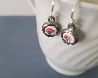 CLOSING SALE Vintage Enamel Charms earrings, tiny little carnation.