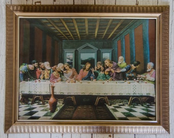 Vintage 1960's Kitsch 3-D Last Supper in Plastic Frame