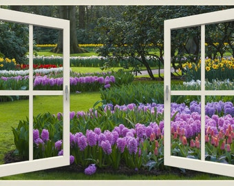 Wall mural window, self adhesive -Holland garden, open window view-3 sizes available-Hyacinth Spring Garden - free US shipping