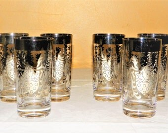 Kimiko Mid Century Silver Guardian Crest Mad Men Glasses, Set of 6 Ice Tea Glasses 5 5/8 Inch High and Hold 11oz