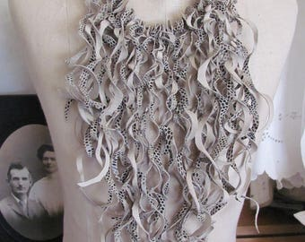 Necklace Beautiful Beige Soft Suede Leather Curly Fringe Bib Necklace Choker (#27)