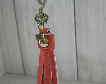 Owl Necklace, Owl Jewelry, Tassel Necklace, Tassel Jewelry, Suede Tassel, Repurposed Necklace, Leather Tassel Necklace, Charm Necklace