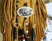 Native Buffalo Ivory Scrimshaw Art Leather Medicine Bag Keepsake Fetish Pouch