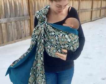 Quilted Snowflakes- adjustable baby sling, ready to ship