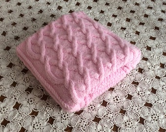 Pastel Pink chunky hand knit baby blanket, 27x36