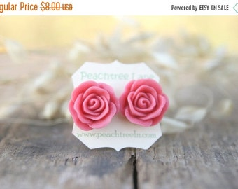 SALE Large Dusty Pink Rose Post Earrings // Bridesmaid Gifts // Rustic Vintage Wedding