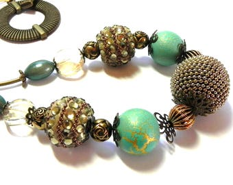 Brass, turquoise, beige, seafoam and gold beaded Necklace - Brass toggle - Rhinestones