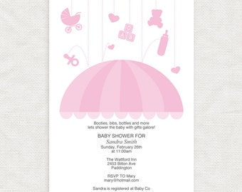 baby girl printable shower invitation template umbrella - diy download - baby sprinkle invites, pink, design, rain, editable, do it yourself