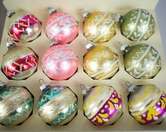 12 Shiny Brite Mica Stencil Glass Christmas Tree Ornaments in Box