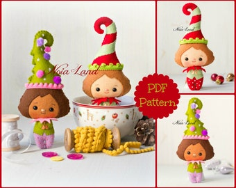 Playful elves. Cute Christmas (PDF Pattern)