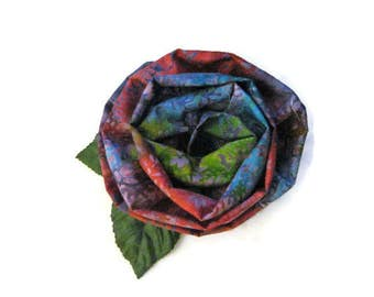 Fabric Flower Brooch Multi Color Batik Fashion Brooch