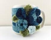 Floral Cup Cosy, Cup Sleeve, Mug Cosy, Cup Cozy, Mug Sleeve, Mug Warmer - Pure Wool - Sea Forest