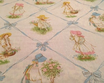 Holly Hobbie Vintage TWIN FLAT Craft Sheet - Reclaimed Bed Linens.