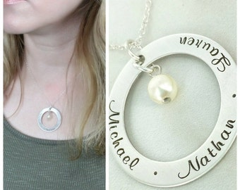 """14% off Valentines Sale- Personalized mommy 1 1/4"""" loop necklace with birthstone crystal - Personalized Necklace - Family Name Necklace - Mo"""