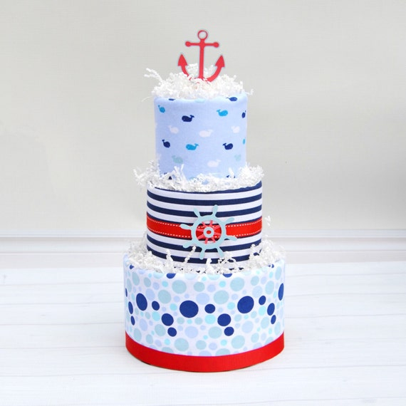 Nautical Baby Shower, Ahoy It's a Boy Shower, Whale Baby Shower, Nautical Diaper Cake, Nautical Shower Decorations, Ahoy Diaper Cake