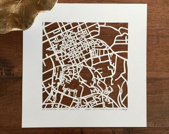 UNC at Chapel Hill or Duke hand cut map ORIGINAL