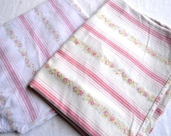Vintage Pillow Covers - Pink Roses Stripe Ticking Pair